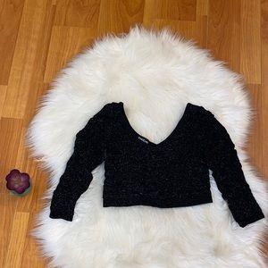 Bebe Black Crop Metallic Top size S